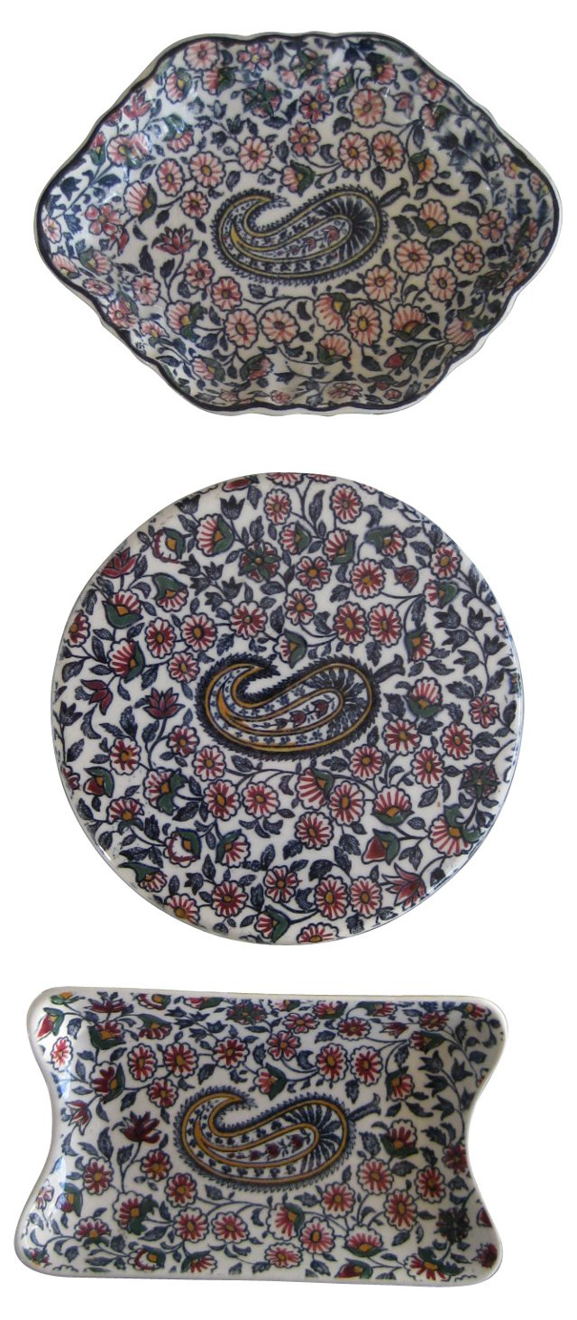 Hand-Painted French Paisley Trays, S/3