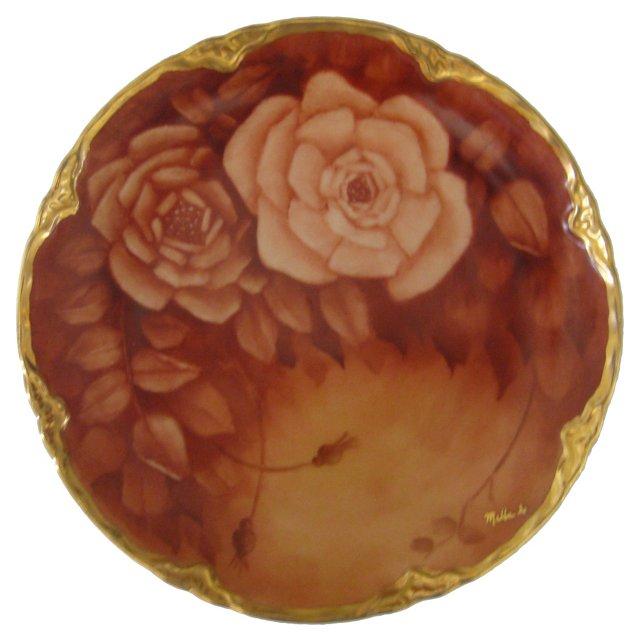 Antique Gilded Rose Porcelain Plate