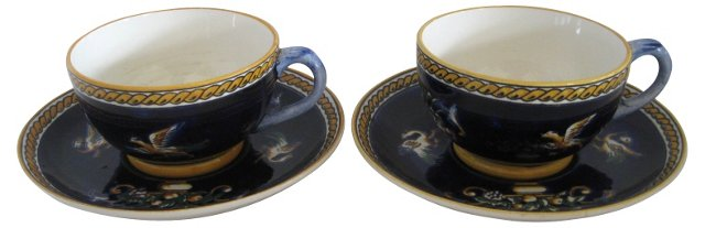French Faience Cups & Saucers, Pair