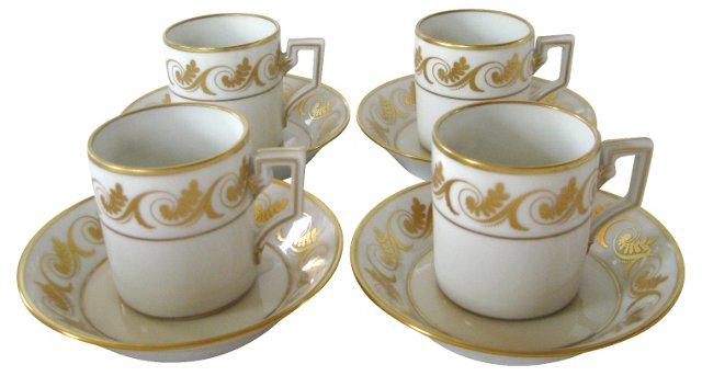 Ginori Espresso Cups & Saucers, S/4
