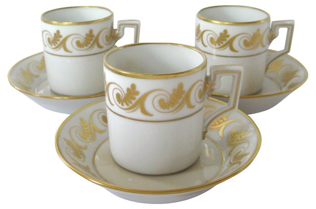 Ginori  Porcelain Cups & Saucers, S/3
