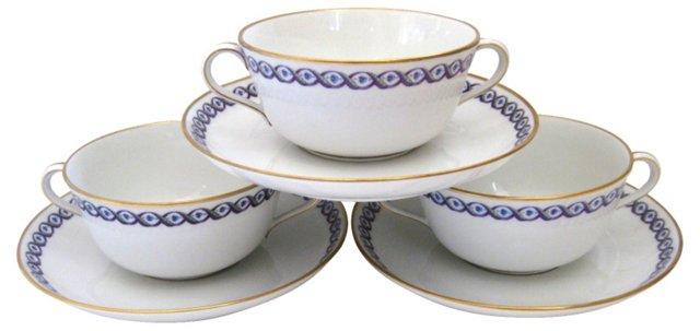 Ginori Porcelain Bowls & Saucers, S/3