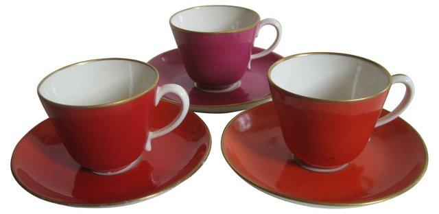 1940s Ginori Porcelain Demitasses,  S/3