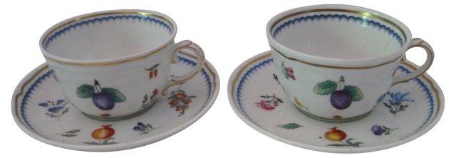 Richard Ginori Cups & Saucers, Pair