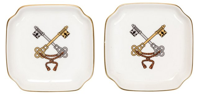 Italian Porcelain Trays, Pair