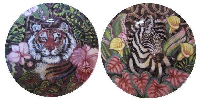 Wildlife Porcelain Plates, Pair