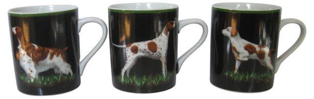 Tiffany & Co. Hunting Dog Mugs, S/3