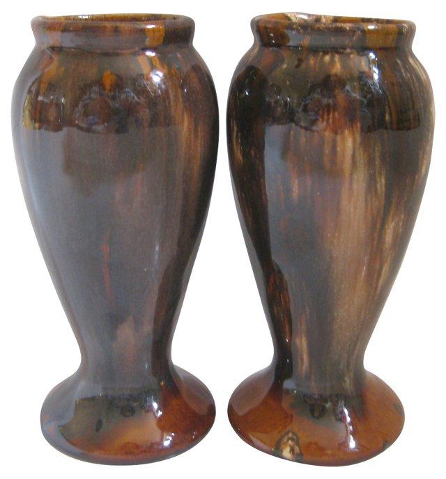 1940s McCoy Onyx-Glaze Vases,  Pair