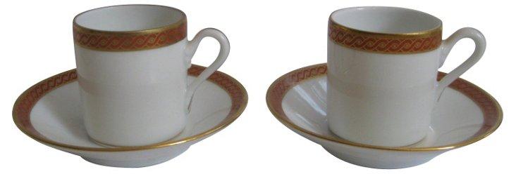 Italian Porcelain Espresso Set, 4 Pcs