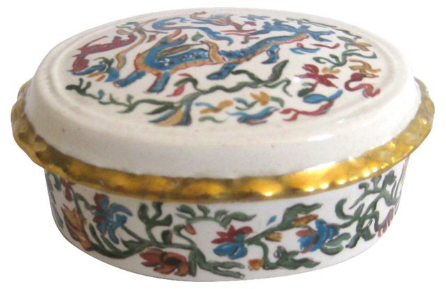 Hand-Painted Gilded Porcelain Box