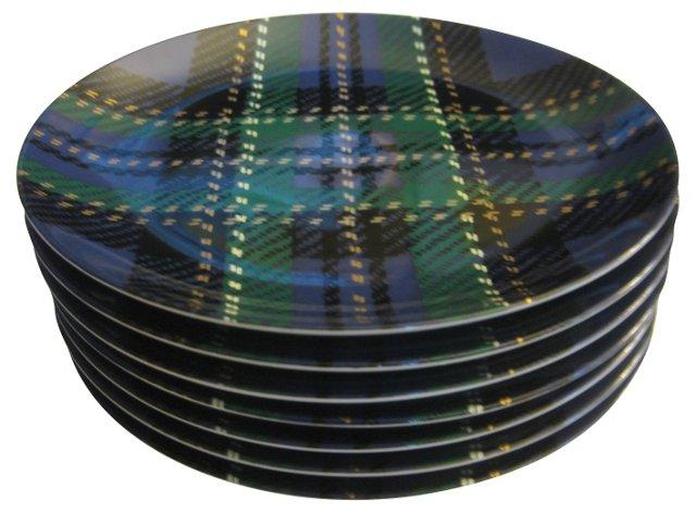 Blue Tartan Porcelain Plates, S/7