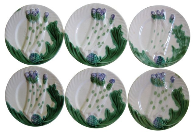 Antique French Majolica Plates,  S/6