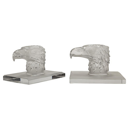 Lalique French Crystal Eagle Bookends