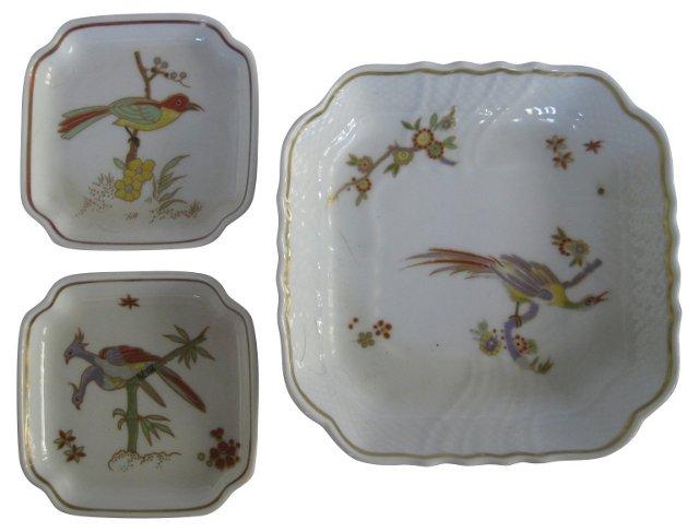Ginori Italian Porcelain Bird Set, S/3