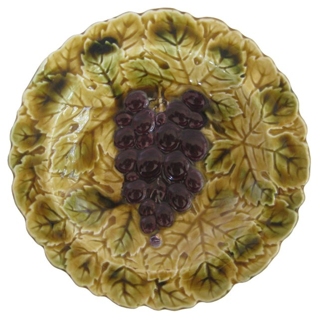 French Majolica   Grapes Bowl