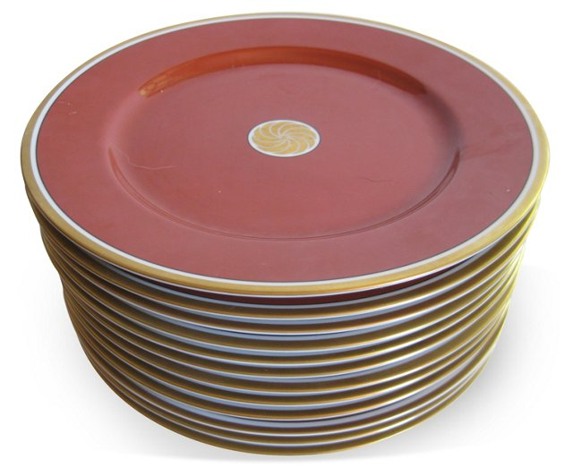 Cinnabar Porcelain Dinner Plates, S/12