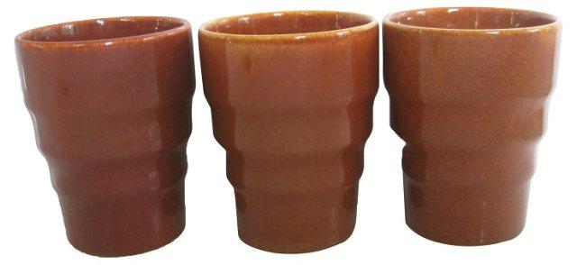 1940s California Pottery  Tumblers, S/3
