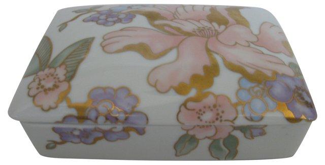 Gilded Peony Porcelain Box