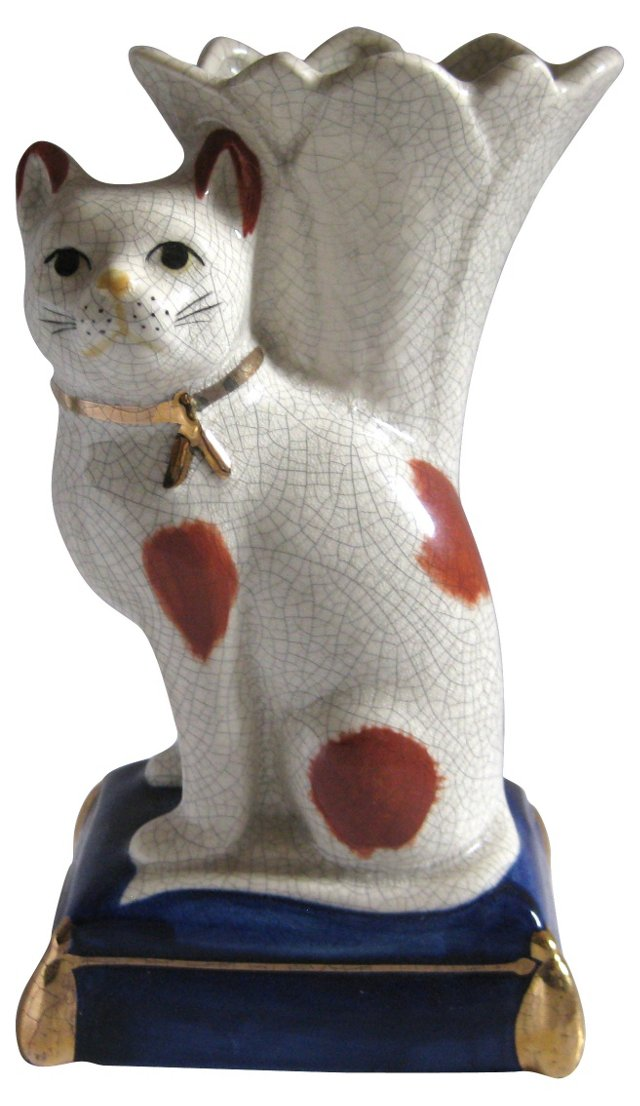 Staffordshire-Style Cat Vase