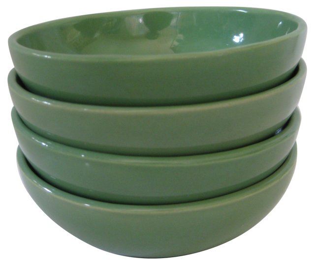 Gladding McBean Apple Green Bowls, S/4