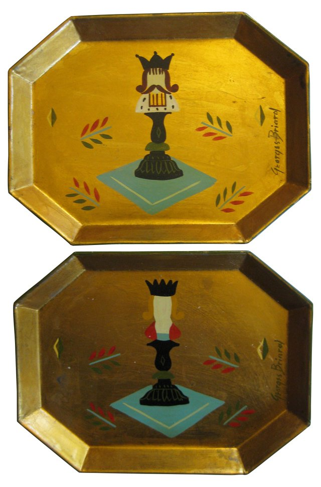 1950s Georges Briard Tole Trays, Pair