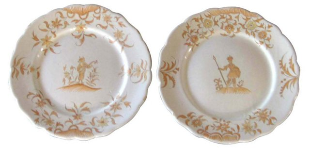Antique French Faience Plates, Pair