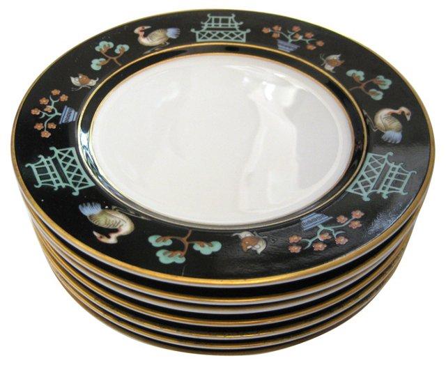 Chinoiserie Gilt Porcelain Plates, S/8