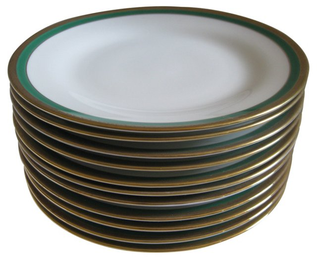 Ginori Emerald Porcelain Plates, S/11