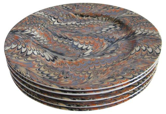 Feather Glaze Porcelain Plates, S/5