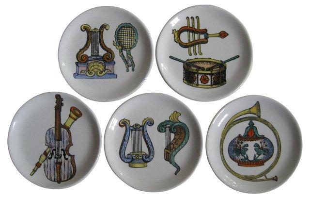 Fornasetti-Style Italian Coasters, S/5