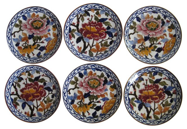 French  Faience  Peonies  Plates, S/6