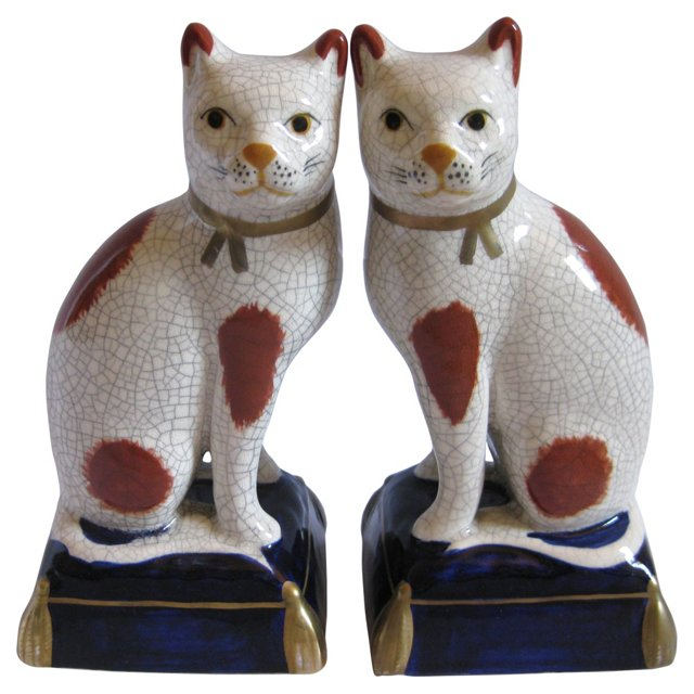 Staffordshire-Style   Cats, Pair