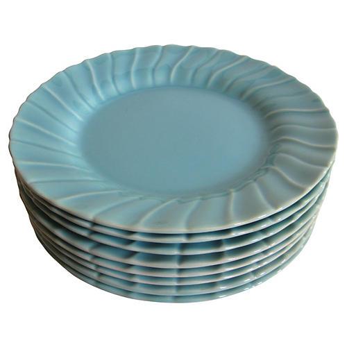 1940s Gladding McBean Swirl Plates, S/8