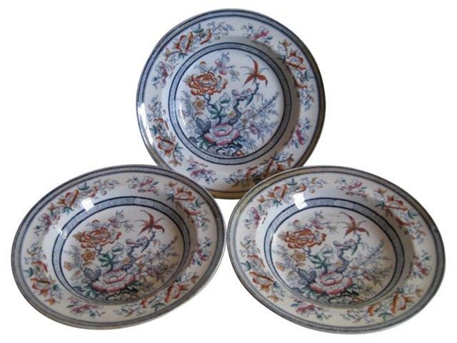 19th C.English Ironstone Soup Plates S/3