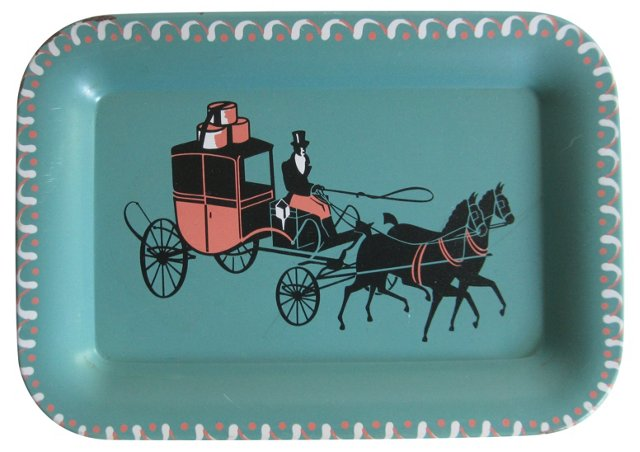 Horse & Carriage Tole Tray