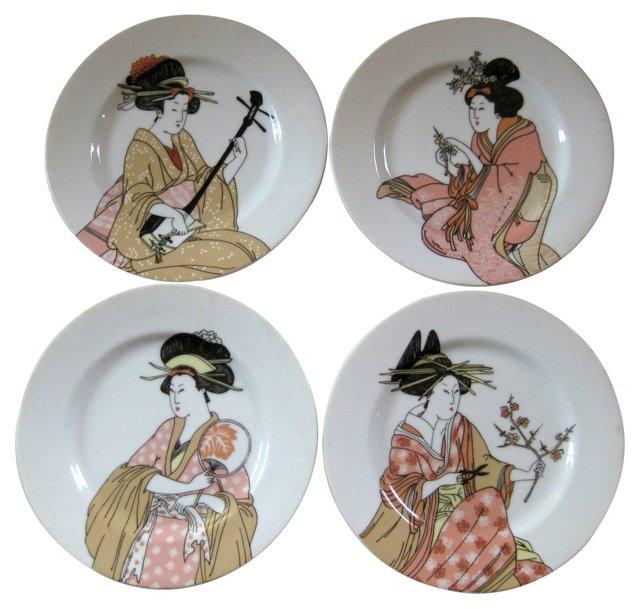 Porcelain Geisha Plates,    S/4