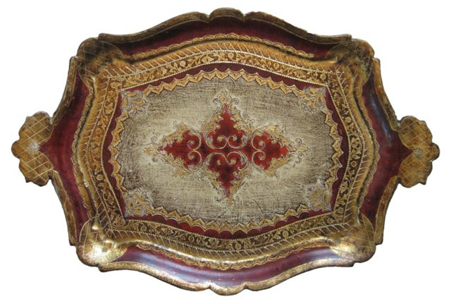 Red & Gold  Florentine Tray