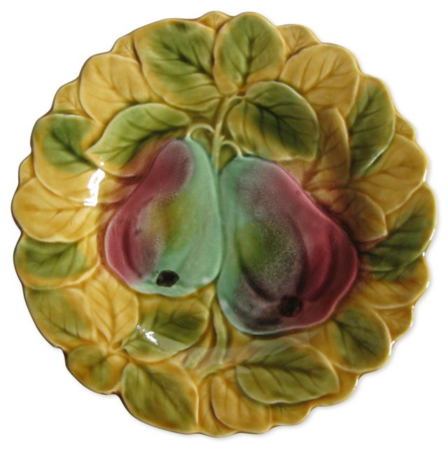 French  Majolica   Pears Plate