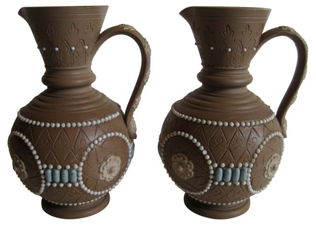 Antique Doulton Lambeth Pitchers, Pair