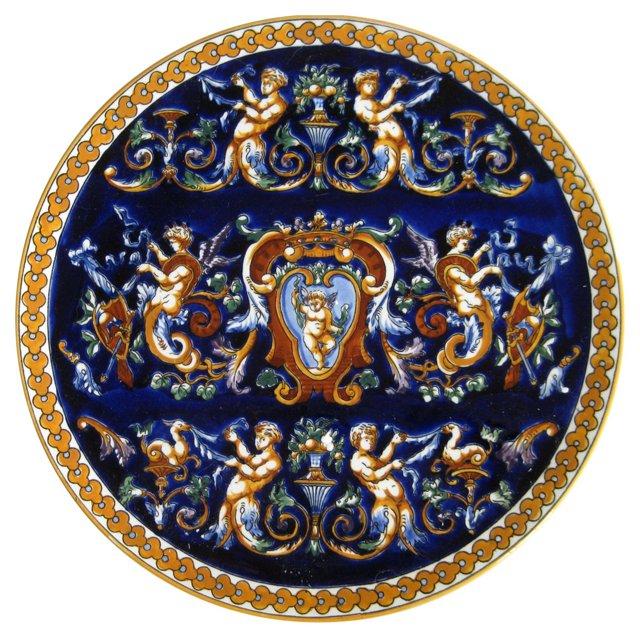 Winged Cherub French  Faience  Platter