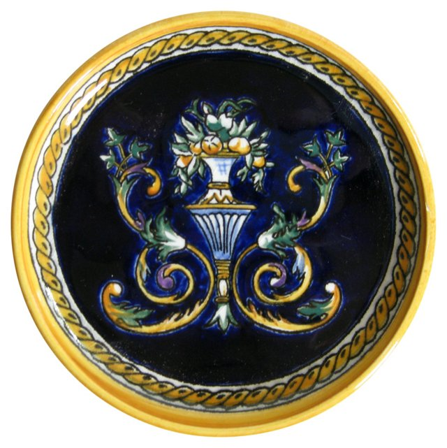French   Faience Wine Bottle   Coaster