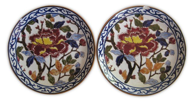 French Faience   Peonies Plates, Pair