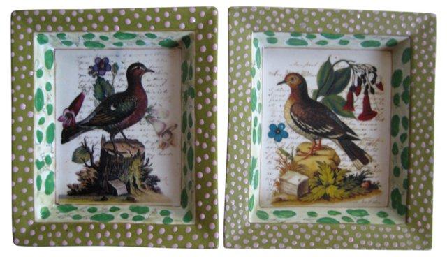 Enameled Porcelain   Bird Trays, Pair
