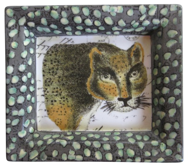 Porcelain Spotted Cat Tray