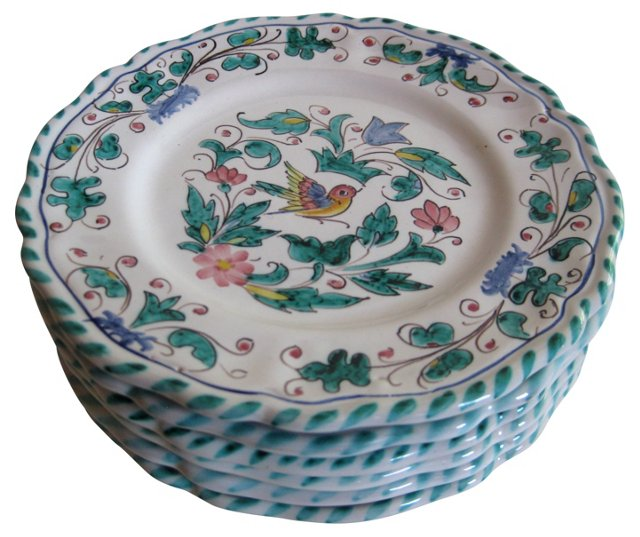 Hand-Painted  Italian    Plates, S/6