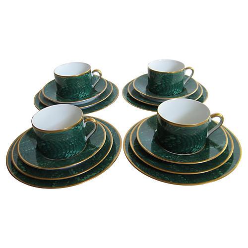 Emerald Feather-Glaze Set, Svc for 4