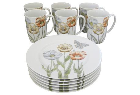 Poppy & Butterfly Porcelain S/12