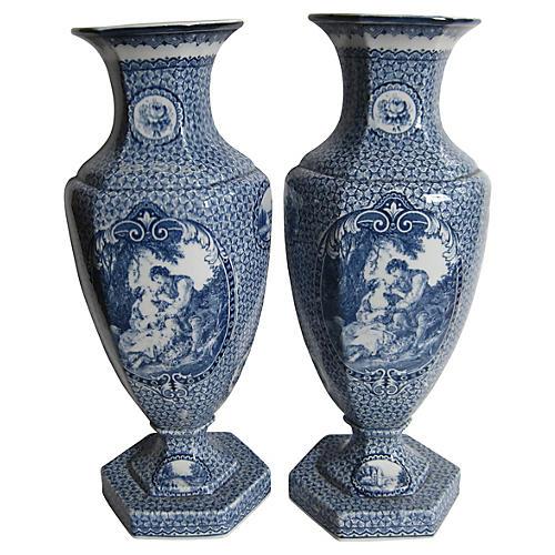 Antique Villeroy & Boch Vases, Pair