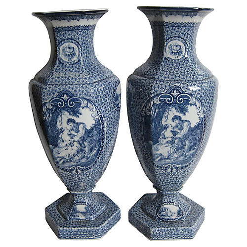 Antique Villeroy & Boch Vases, Pair