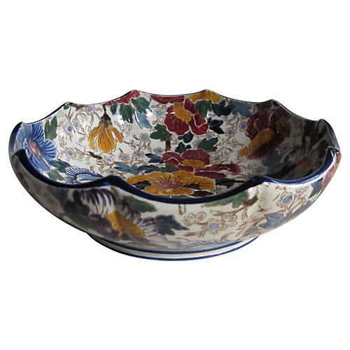 Antique French Faience Serving Bowl